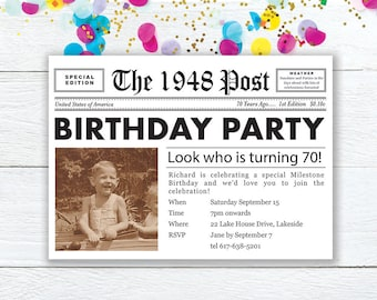 Personalized 70th Birthday Invitation Photo Invite Newspaper