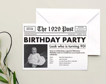 90th Invitation Newspaper Invite Birthday 1929 Printable