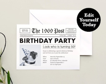 50th Birthday Invitation 1969 Invite Editable Newspaper Instant Download