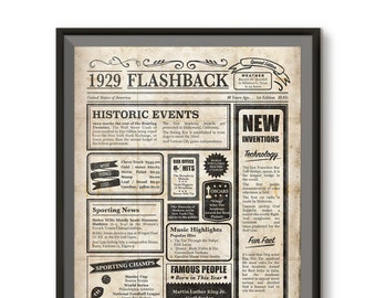90th Birthday Decoration Instant Download Newspaper Poster