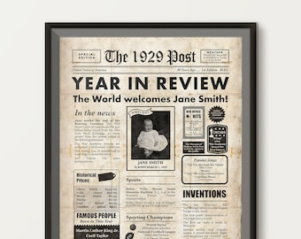 90th Birthday Gift Personalized Poster 1929 Newspaper Sign