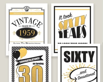 60th Birthday Poster Signs Party Decorations Instant Download