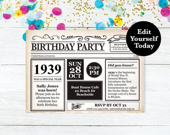 80th Birthday Invitation Party Invite Newspaper Instant Download Editable
