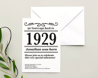 90th Birthday Invite Editable Instant Download