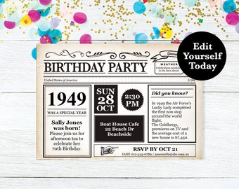 70th Birthday Invitation Party Invite Newspaper Instant Download Editable