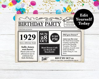 90th Birthday Invitation Party Invite Newspaper Instant Download Editable