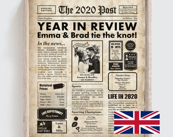 1st anniversary gift  - paper anniversary - 2020 personalised PRINTABLE newspaper with UK facts - Digital File