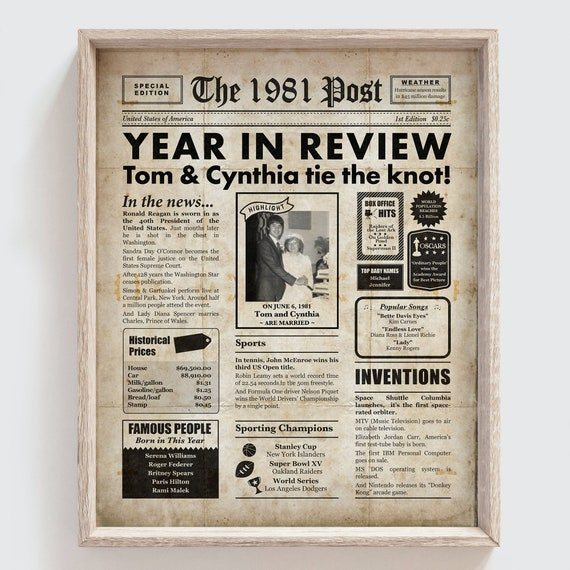 40th Wedding Anniversary Poster  The Year You Were Married Newspaper Style  Personalised Printed Poster  Year 1981  Framed Options