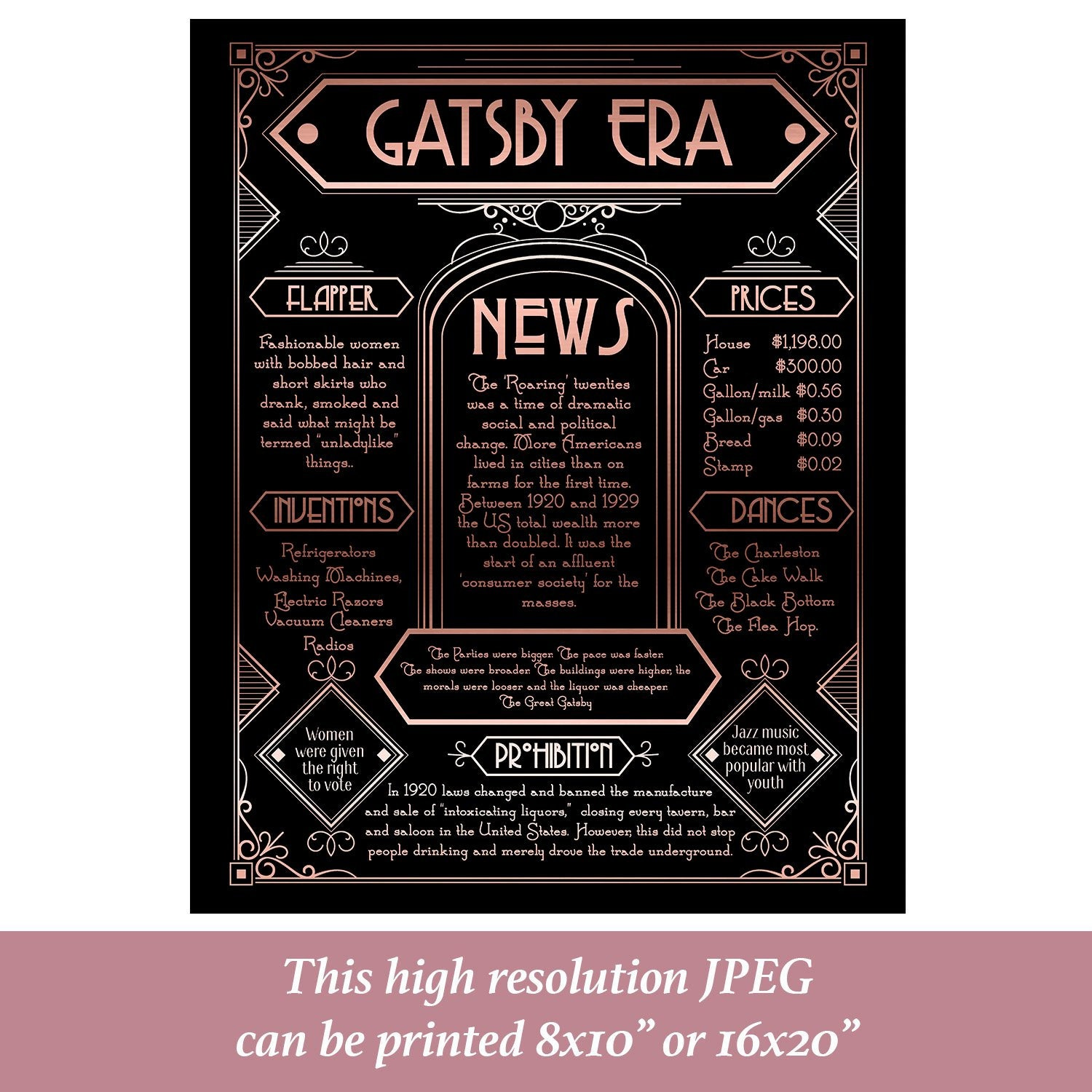 Great Gatsby posters, Rose Gold poster, Great Gatsby Decor