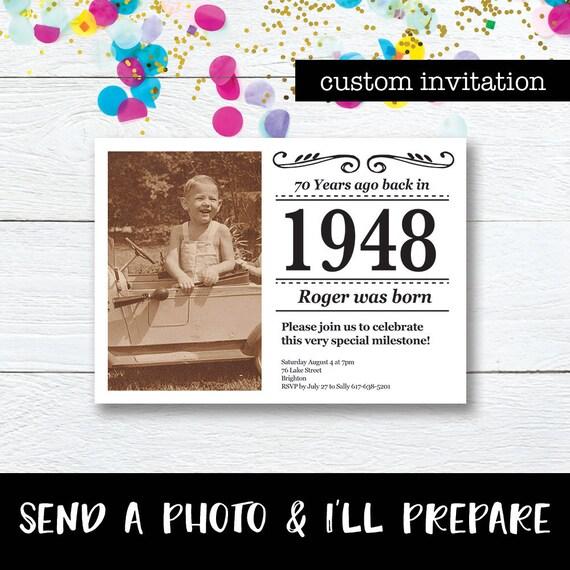 Custom 70th Birthday Invite Photo Invitation Newspaper
