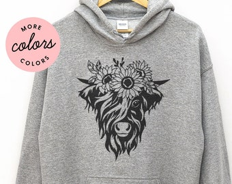Floral Highland Cow Hoodie, Farmer Hooded Sweatshirt, Cow Hoody, Cow lover hoodie, Farming, Farm Life, High land cow