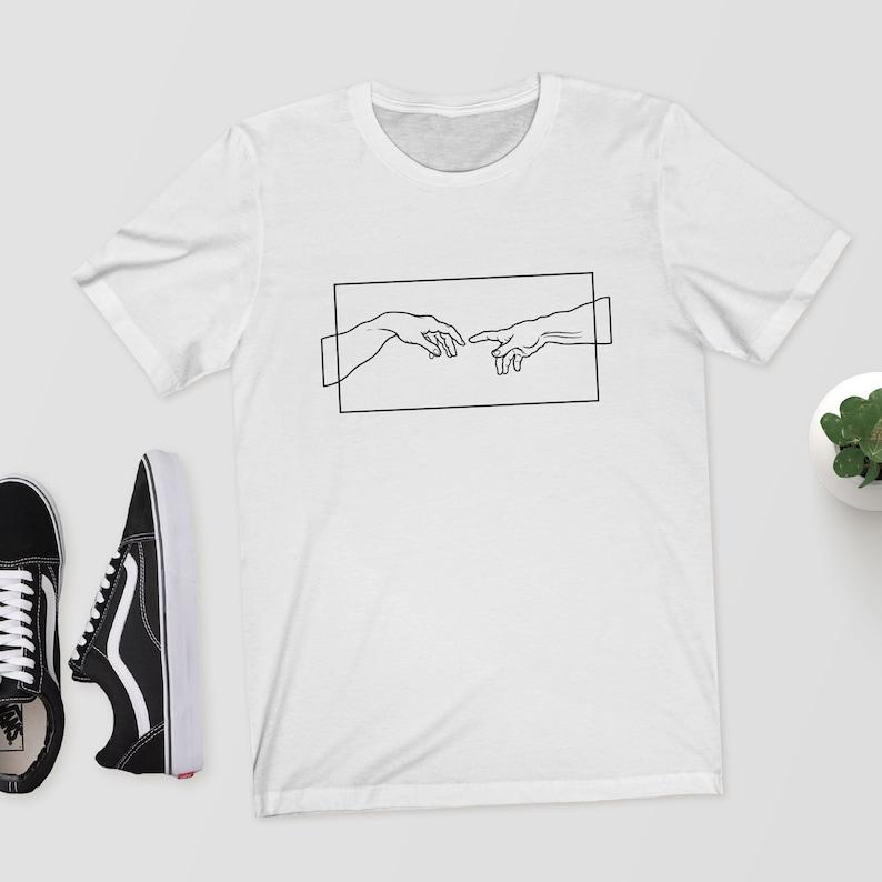 0a2826ba Creation Hands Line Art T-Shirt/Shirt/Top/Tee Aesthetic | Etsy