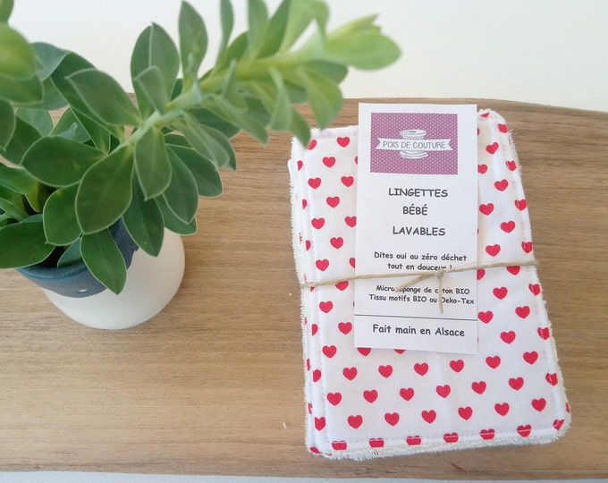 Featured listing image: WASHABLE BABY WIPES - organic cotton - made in France – ecologic - baby - baby gift - birth gift - hearts - red