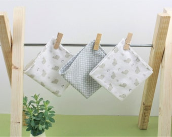 WASHABLE HANDKERCHIEFS - organic cotton - set of 3