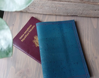 Passport leather - gift for her - gift for him - vegan leather Cork - accessory - ecoreponsable - made in france