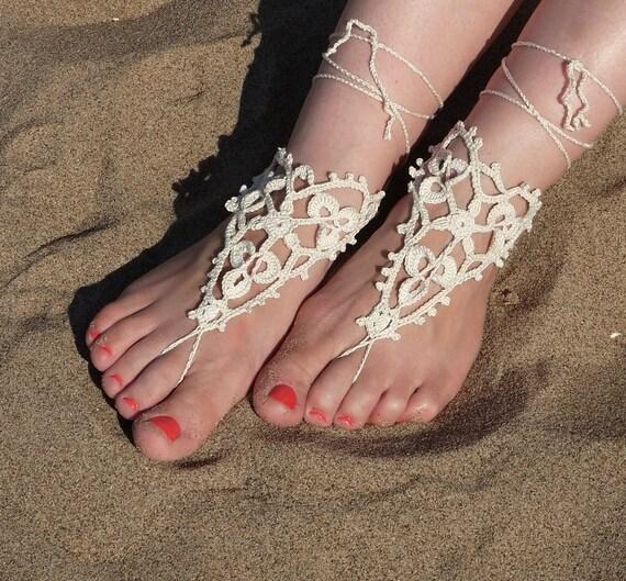 1b261f85377b1 Crochet Barefoot Sandals, Light Beige Bridal Barefoot Sandals, Nude shoes,  Beach Wedding, Foot Jewelry, Yoga Sandals, Many colours