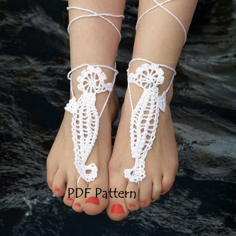 b8eb9df8fd6 Crochet Barefoot Sandals Pattern SEAHORSE Crochet Bridal