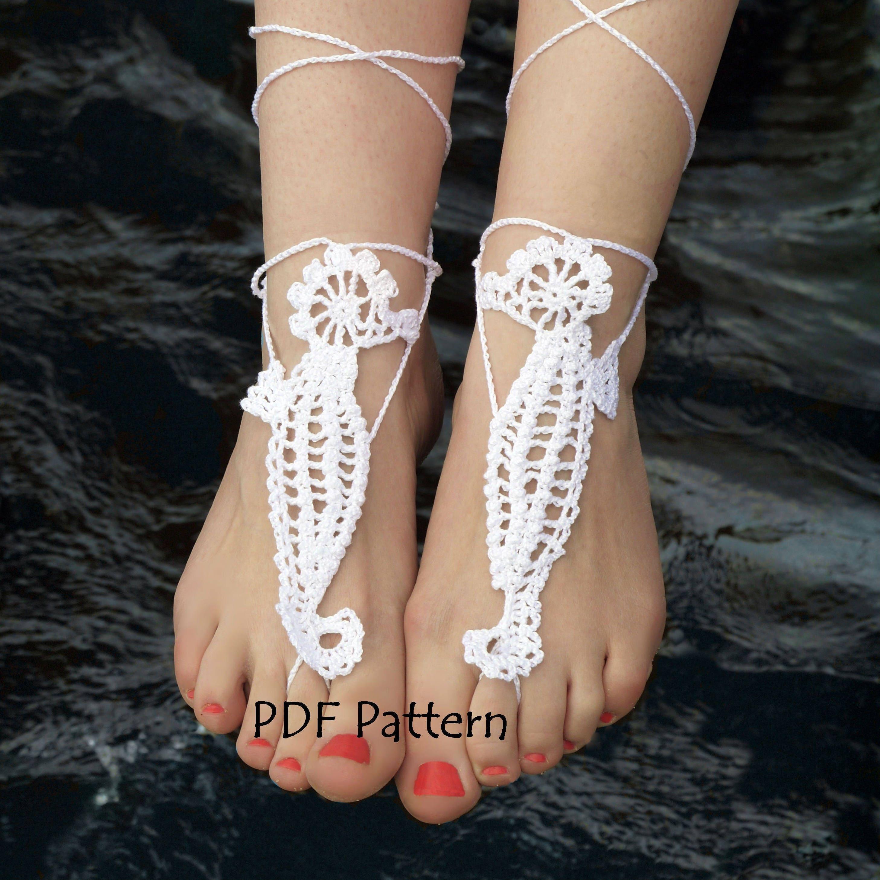 Crochet Barefoot Sandals Pattern Seahorse Crochet Bridal Etsy