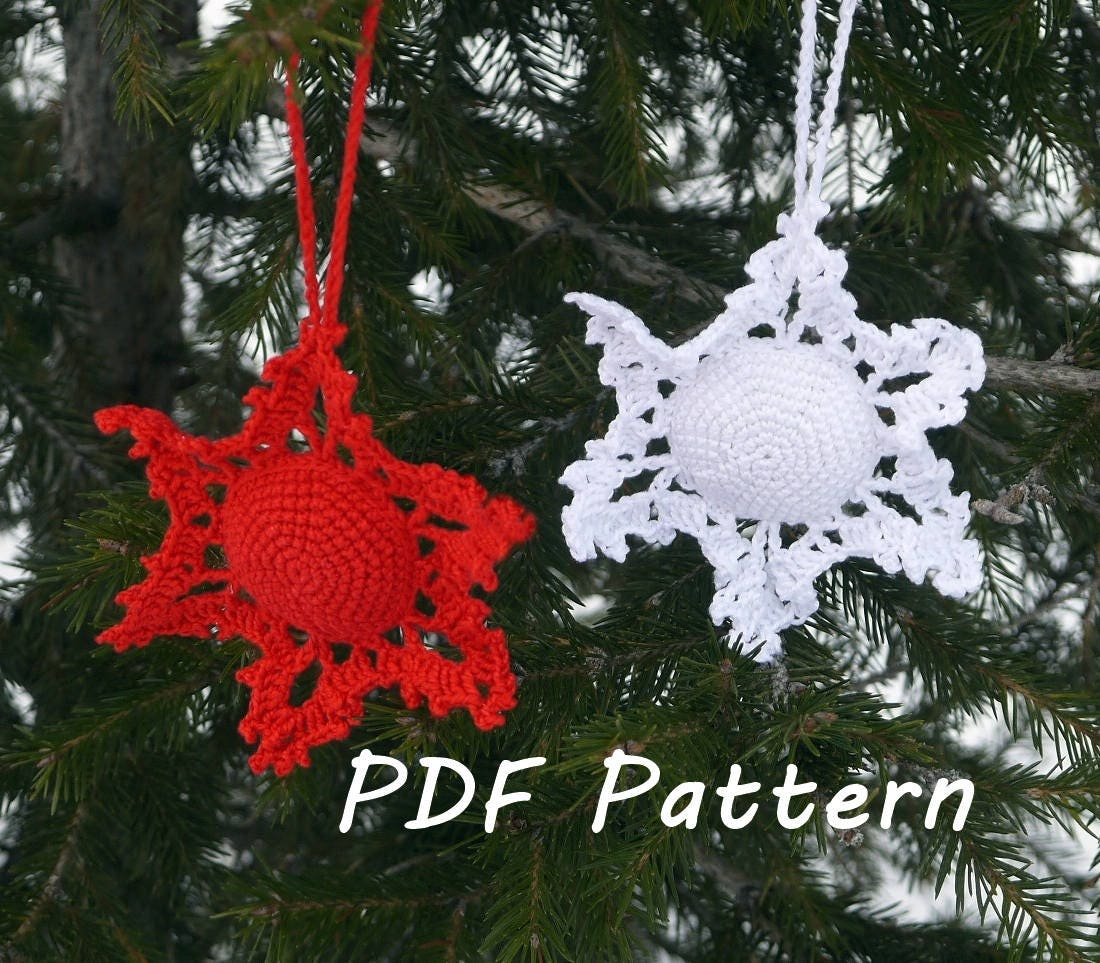 Snowflake Crochet Pattern Christmas Ornament Tree Etsy Snowflakescrochetpatterndiagram