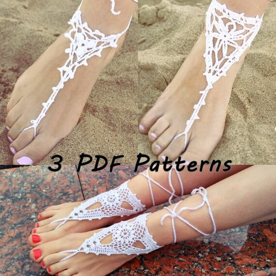 Crochet Barefoot Sandals Patterns Sale Bridal Barefoot Etsy
