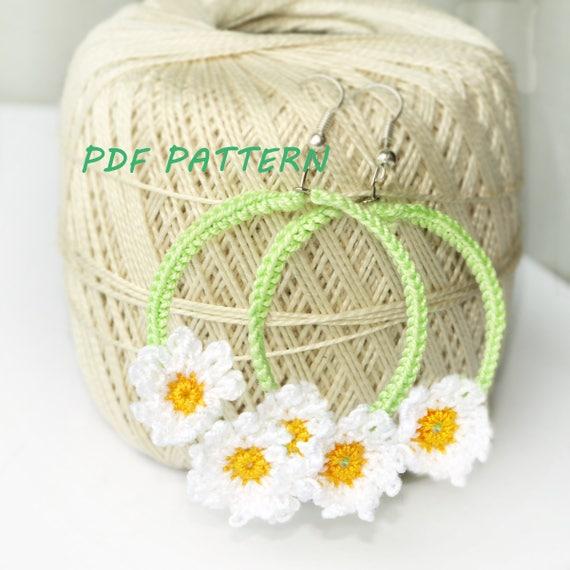 Crochet patrones de pendientes de aro Margarita Flores | Etsy
