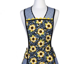 Retro Womens Apron - You Are My Sunshine Sunflowers with Black Gingham Large Pockets and Over the head Comfort