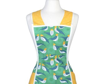 Vintage Plus Size Retro Women's Apron Whimsical Birds in Emerald Green and Gold - Large Pockets - Over the Head No Ties - Gift for Her