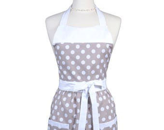 Retro Women's Apron in Gray and White Quarter Polka Dot - Personalize as a Gift for Mother, Bride, Birthday, Anniversary, Christmas or You