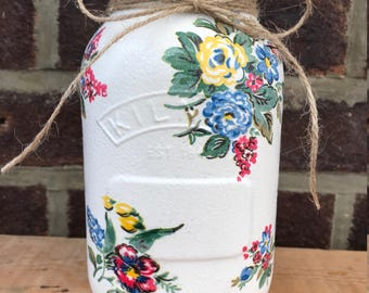 Gorgeous Hand decorated Highgate Rose Kilner Mason Jar Mothers Day
