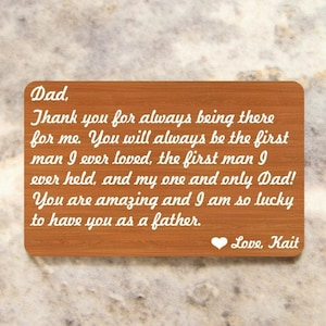 Accessories Fathers Day Christmas Personalized Wallet Card Insert~ I am so lucky- Dad