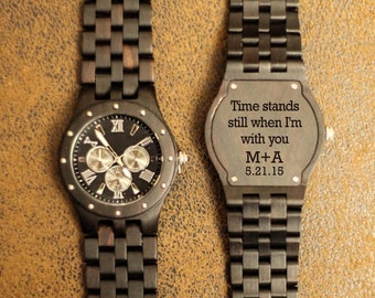 Wood Engraved Watch w95~ Gift for Him, Fathers Day Gift, Christmas, Personalized Watch, Anniversary, Wedding, Groomsmen Gift