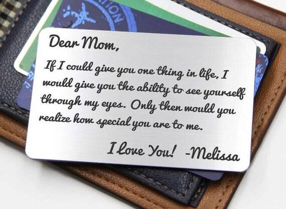 Personnalisé portefeuille carte insérer ~ à travers m'yeux - maman, fête des mères, Noël, accessoires