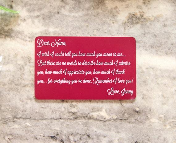 Personnalisé portefeuille carte Insert ~ combien tu veux Me-Admiration, aller loin, accessoires, l'amour, cadeau pour elle, fête des mères