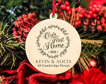 Personalized Christmas Ornament ~ Our First Home- Christmas Gift, First Christmas, Housewarming, Anniversary, Wedding Gift