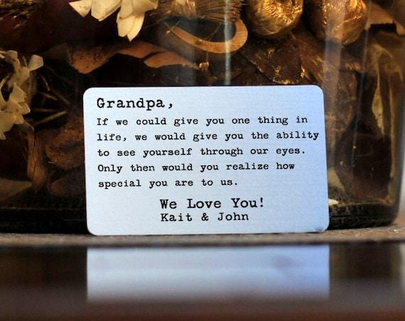 Personnalisé portefeuille carte Insert ~ si je pouvais vous donner une chose-cadeau pour Papy, papa, pères jour, Noël, accessoires, nouveau père