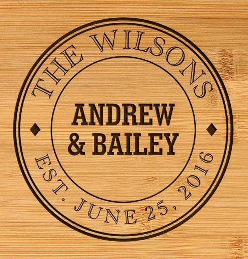 Family Name Circle Handle Engagement Personalized Cutting Board Engraved Chopping Board ~ Anniversary Gift Wedding Gift Housewarming