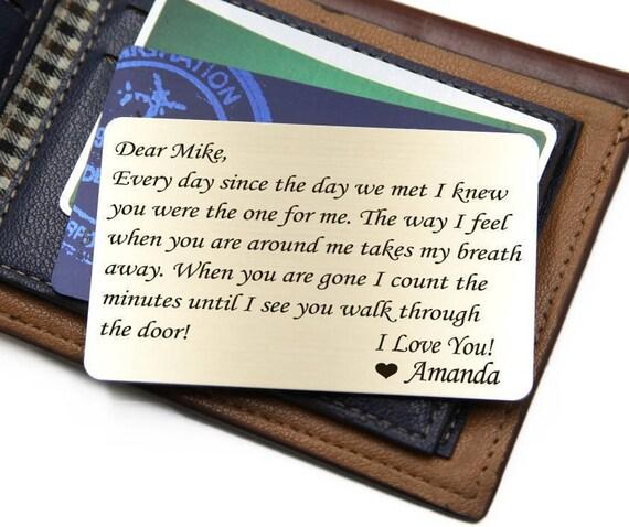 Personnalisé portefeuille carte insérer ~ depuis le jour où nous avons rencontré-anniversaire, Saint Valentin, mariage, Noël, accessoires