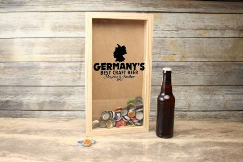 Trinket Frame Gift for Dad Personalized Shadow Box~ Best Craft Beer Home Bar Accessories Collectible Display Beer Man Cave