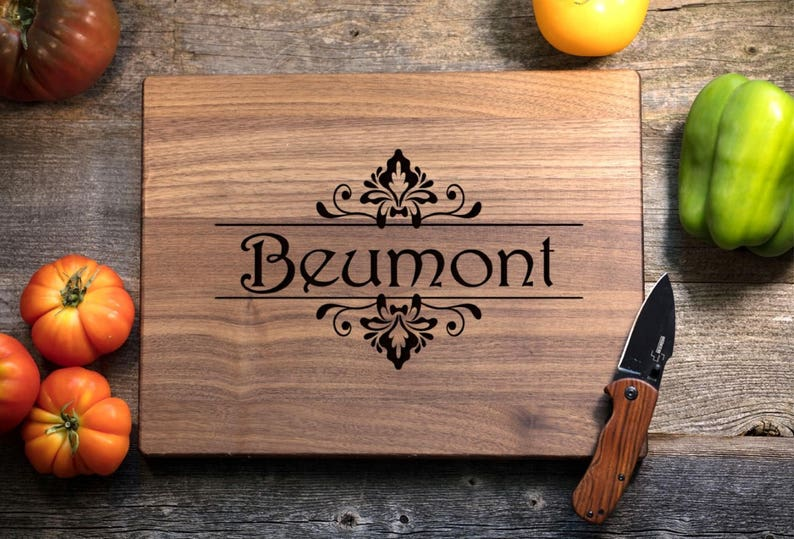 Wedding Gift Housewarming Engagement Christmas- Floral Name Personalized Cutting Board Engraved Chopping Board~Anniversary Gift