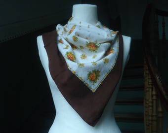 b3eb182f8dd51a 50er Halstuch True Vintage Tuch Folklore braun Blumen hippie DDR Rosen
