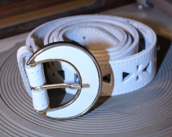 80s belt true vintage white gold leather belt stamped triangles 100 cm Boho Western Retro