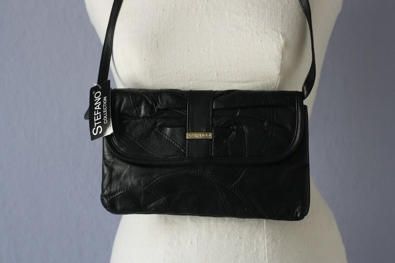 cb4be7291a1af 90er Tasche True Vintage schwarze Umhängetasche echtes Leder