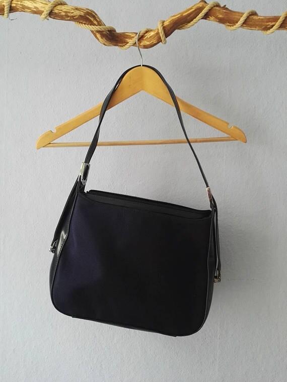 9141efda826e1 90er Tasche True Vintage blau Kunstleder vegan marine