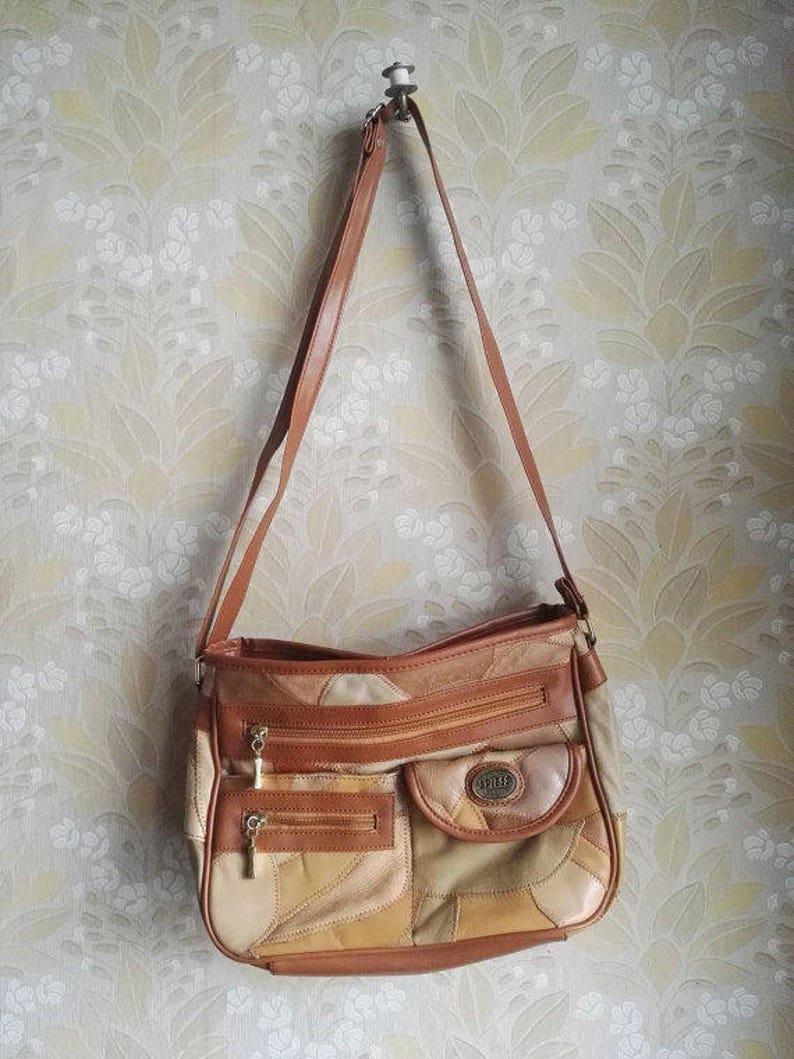 d6d0106d96fc7 90er Vintage Leder Tasche Handtasche braun Patchwork Retro