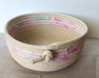FabricPottery Natural clothesline coiled bowl with some cotton watercolor fabric.