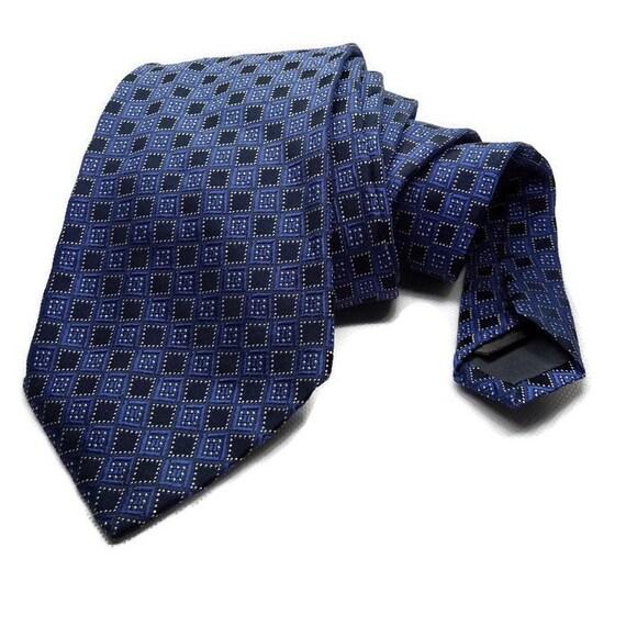 Navy Blue Tie Blue Silk Tie Vintage Silk Tie Mens Silk Tie Etsy