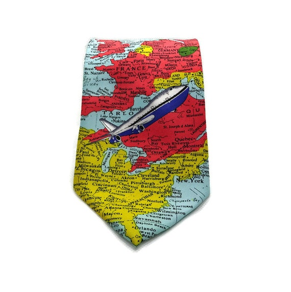 Tie with a map, Mens tie Airplane, Map Print, Map