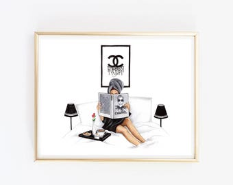Black and White Fashion Illustration Fashion wall art Girly Print Fashion Home Decor Gift For Fashion Lover Girly Wall Art Fashion Poster