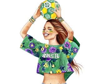 Fashion wall art Fashion illustration Watercolor Fashion prints Summer fashion art Brazil Rio art Best friend gift Custom illustration