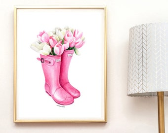 Instant download Pink tulip art Fashion sketch Spring printable art Pink flower Tulips painting Pink tulips Aquarelle Printable art Download